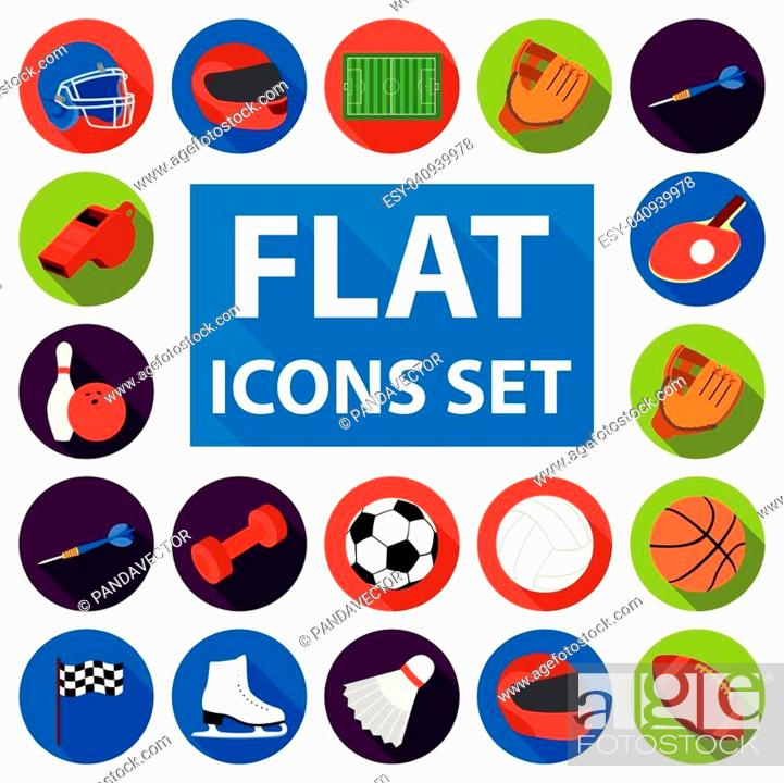 Stock Vector: Different kinds of sports flat icons in set collection for design. Sport equipment vector symbol stock illustration.