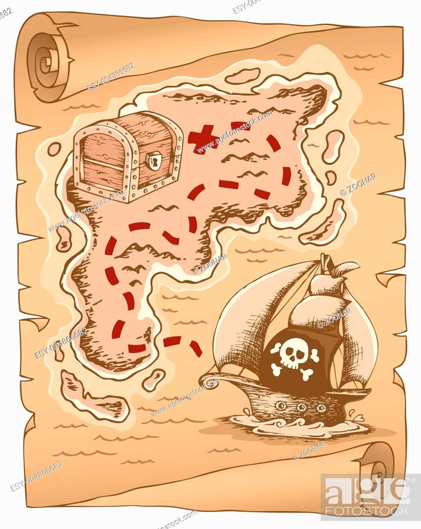Stock Photo: Parchment with treasure map 1 - picture illustration.