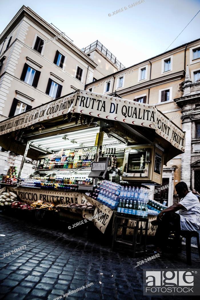 Stock Photo: an ice cream van in Rome, Italy.