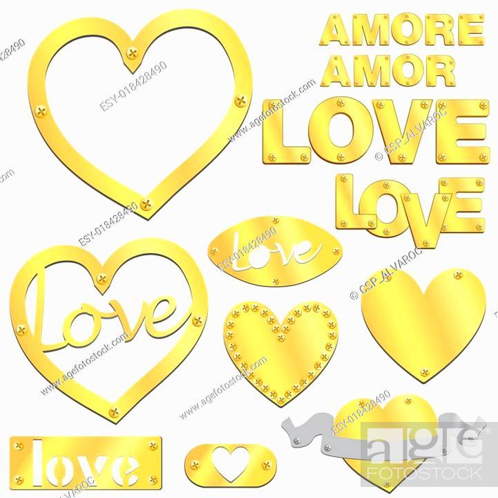 Vector: Plate LOVE golden gold heart vector.