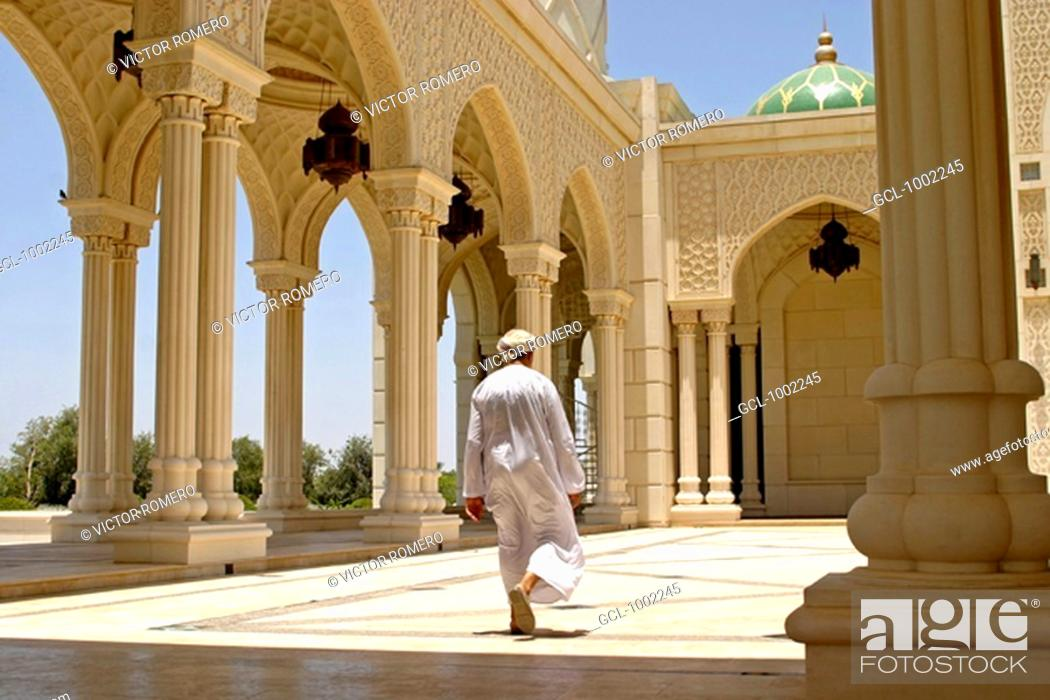 Stock Photo: Man in Mosque in Seeb, Oman.