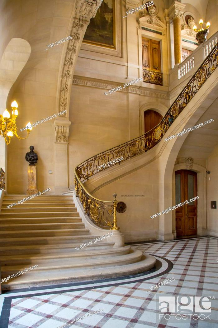 Stock Photo: Marble Staircase In The Richelieu Section Of Musee Du Louvre,  Paris,