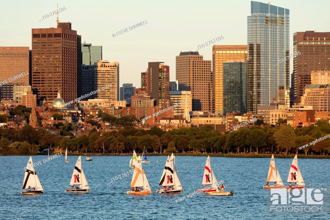Stock Photo: Sailboat race + Beacon Hill skyline from MIT Boston, Massachusets, USA.