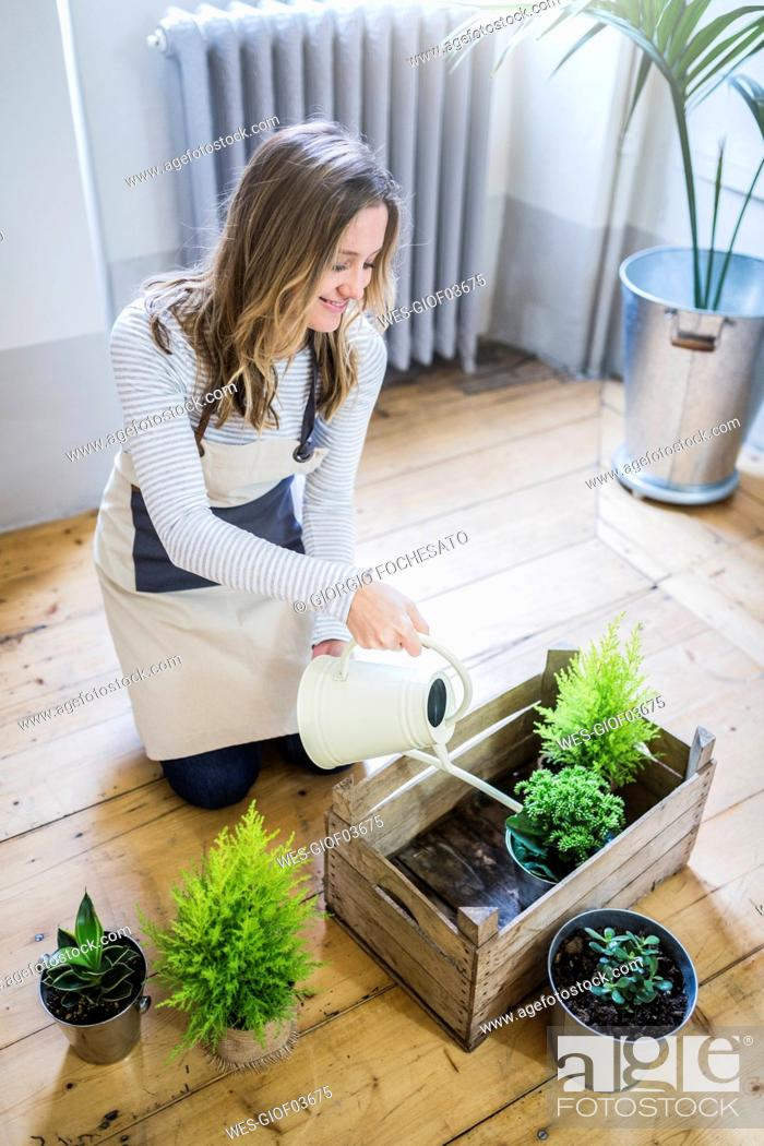 Stock Photo: Smiling woman at home watering plants.