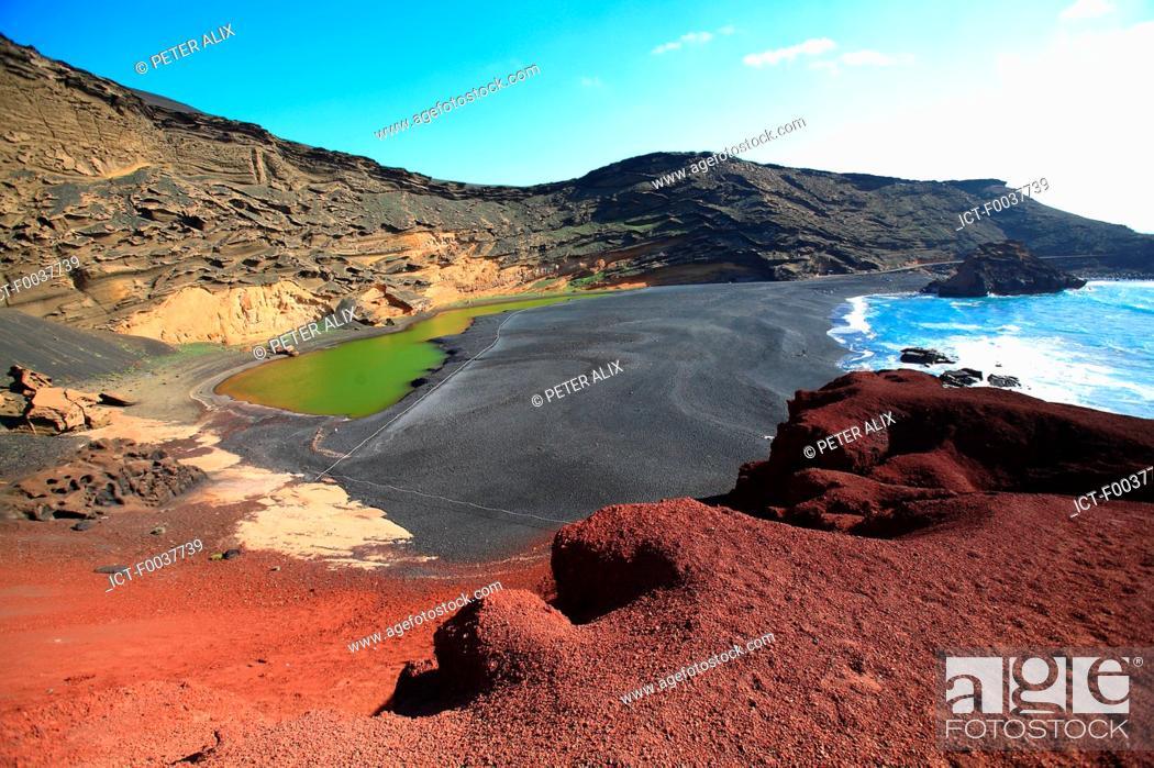 Stock Photo: Spain, Canary islands, Lanzarote, El Golfo, green lake.