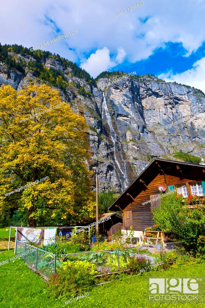 Stock Photo: Sefinen Waterfall near Stechelberg in the Lauterbrunnen Valley, Canton Bern, Switzerland.
