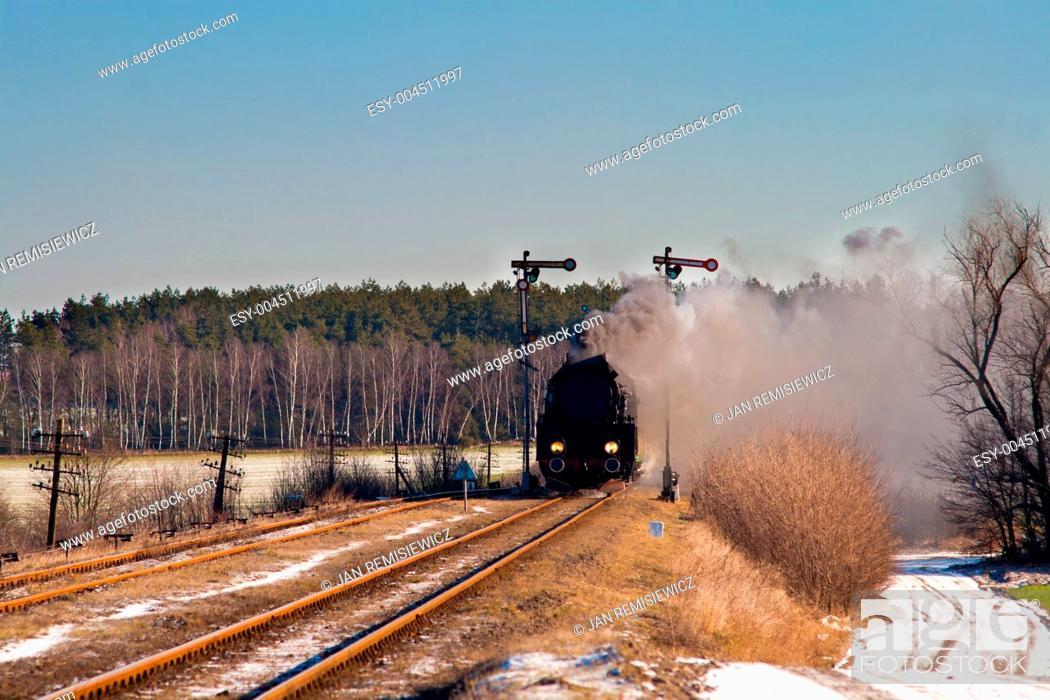 Stock Photo: Old retro steam train.