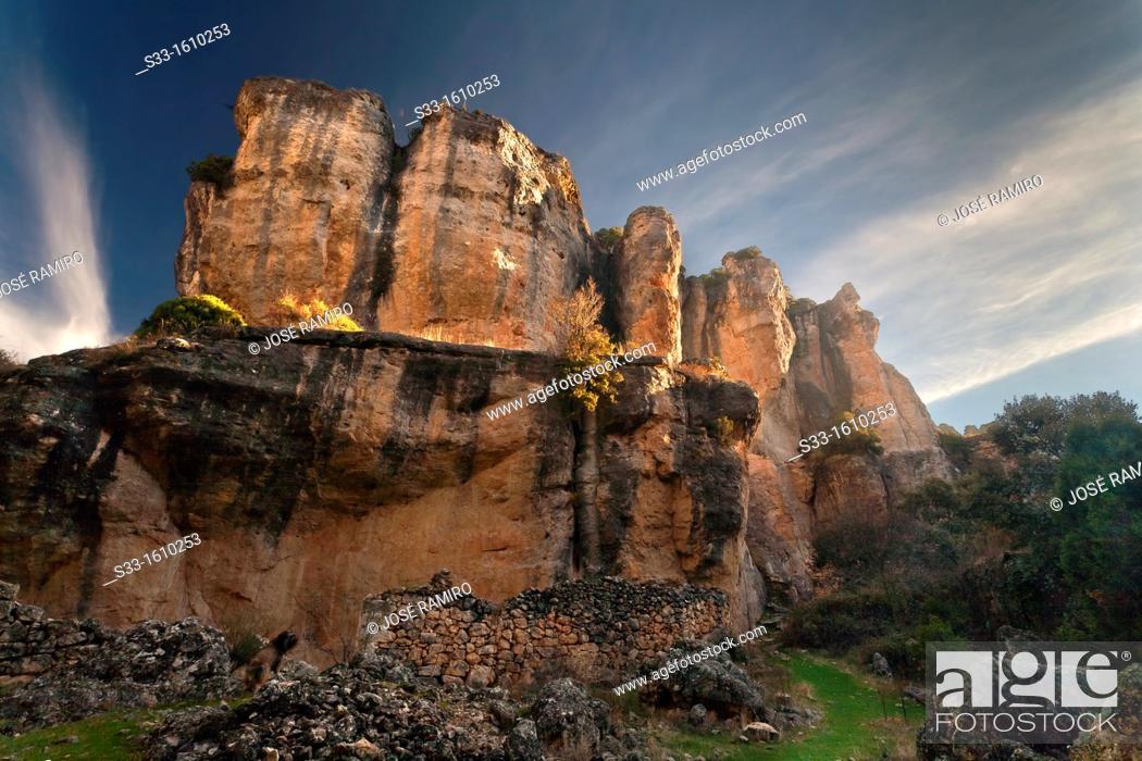 Stock Photo: The Hoz gully in Viana de Jadraque  Guadalajara  Castilla la Mancha  Spain.