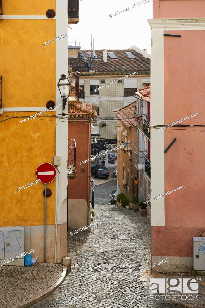 Stock Photo: Street of Lisbon, Portugal.