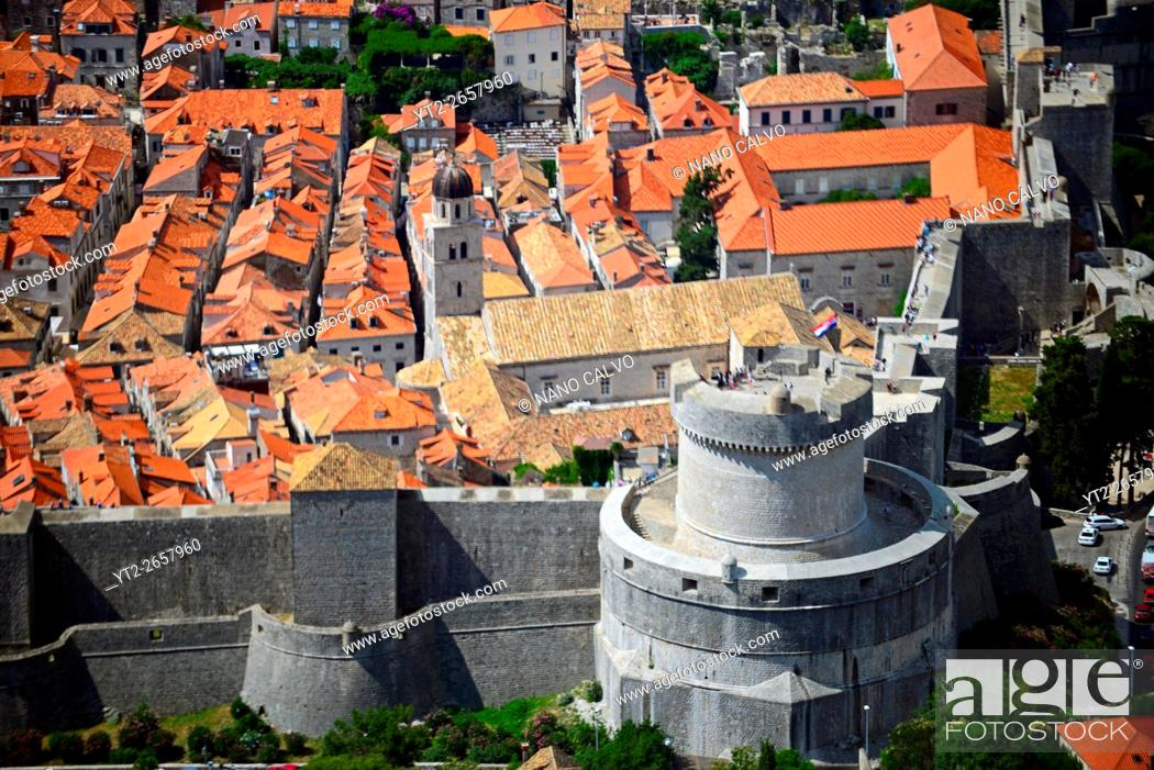 Stock Photo: Views of the Old Town of Dubrovnik from above.