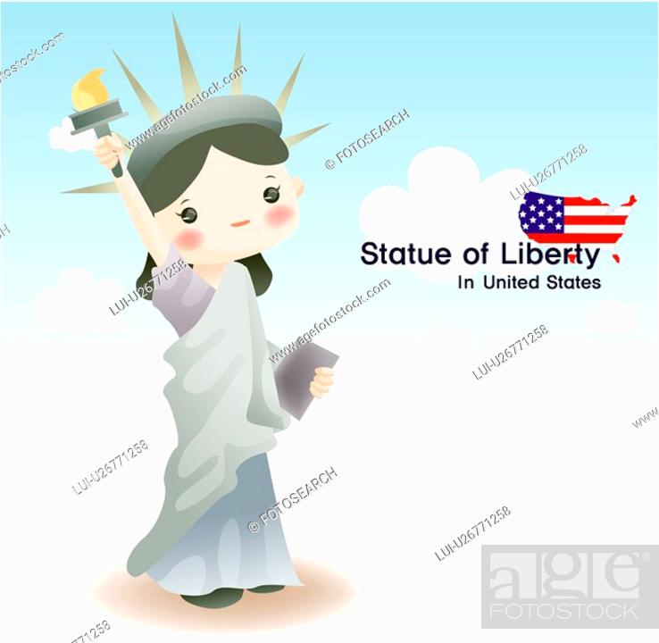 Stock Photo: tourist attractions, tourism, sightseeing, national flag, map, statue.