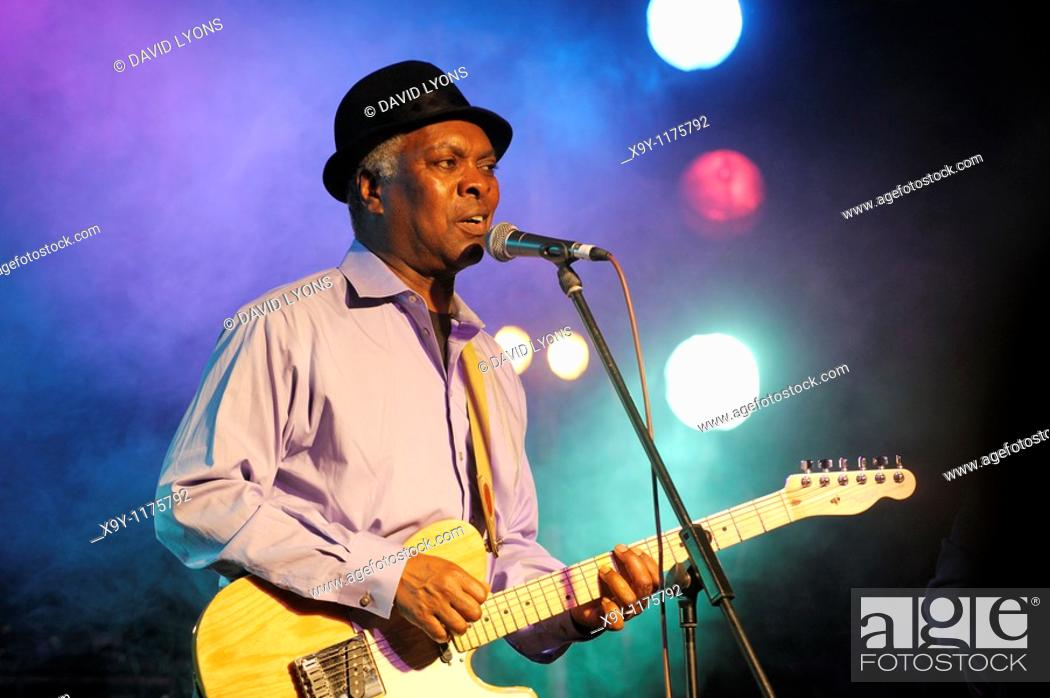 Stock Photo: Booker T  Jones, US blues singer musician performing in the main stage marquee  Maryport Blues Festival, 2010  Cumbria, England.