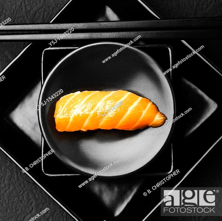 Stock Photo: Salmon sushi on plate.