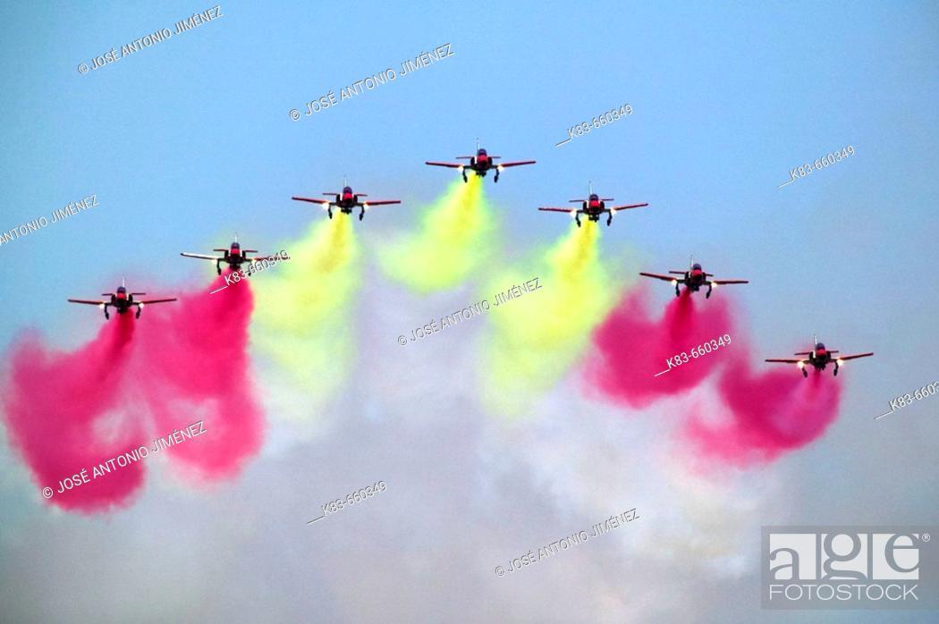 Stock Photo: Patrulla Águila, Spanish Air Force aerobatic demonstration team, Armilla airbase. Granada province, Andalucia, Spain.