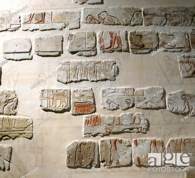 Stock Photo: detail of a wall fresco from Karnak showing elements of a royal procession (Sed Festival) held in the Amarna Court, in the reign of Akhenaten.