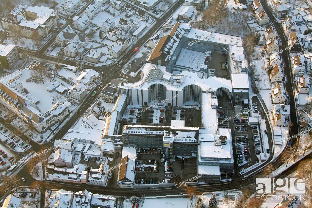 Imagen: Aerial photo, medium-sized business Viega in the snow in winter, Attendorn, North Rhine-Westphalia, Germany, Europe.