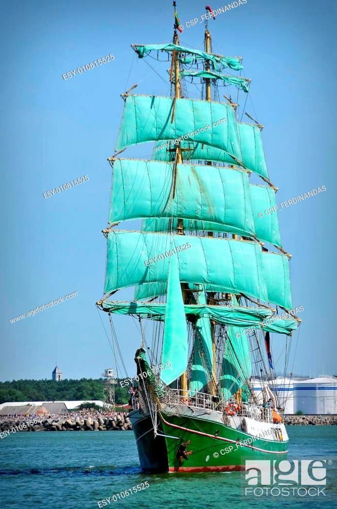 Stock Photo: sailboat on full sails.