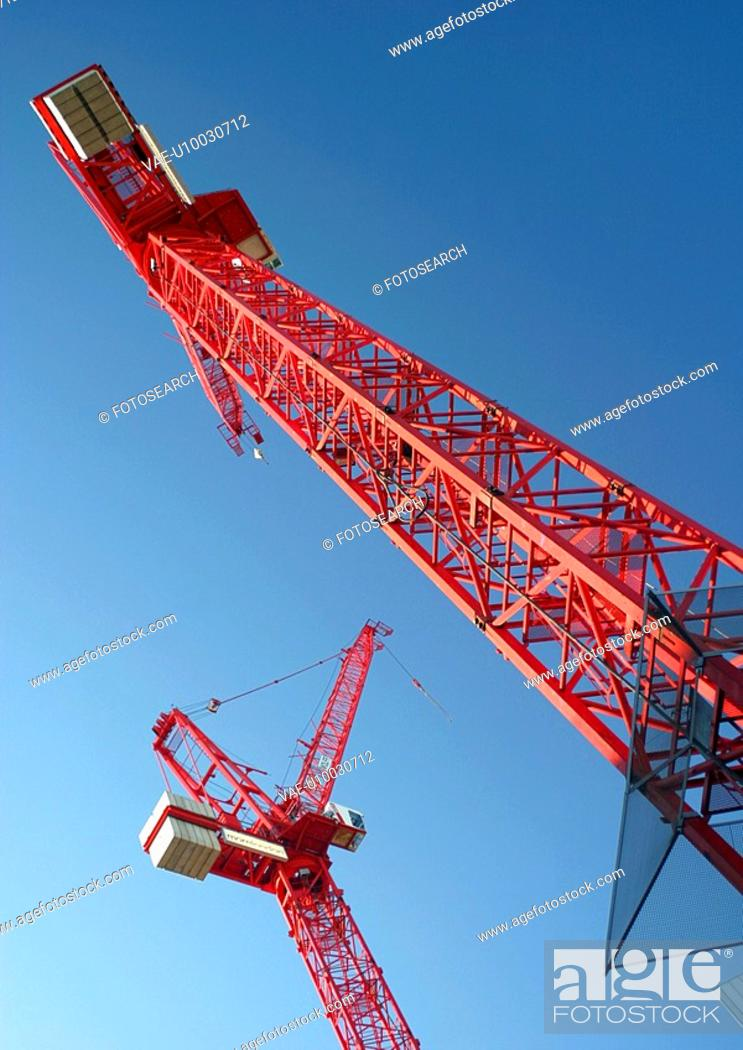 Stock Photo: View of two Tower cranes.