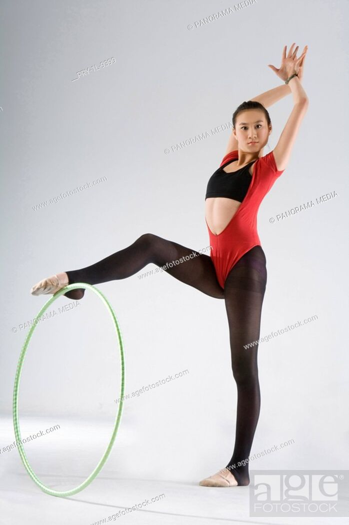 Stock Photo: eurythmics, hoop exercise.