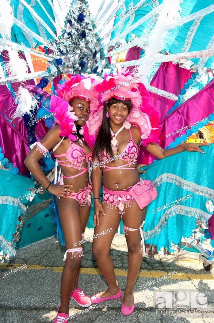 Stock Photo: Young women in costume for the Caribana Festival Parade, Toronto, Ontario.
