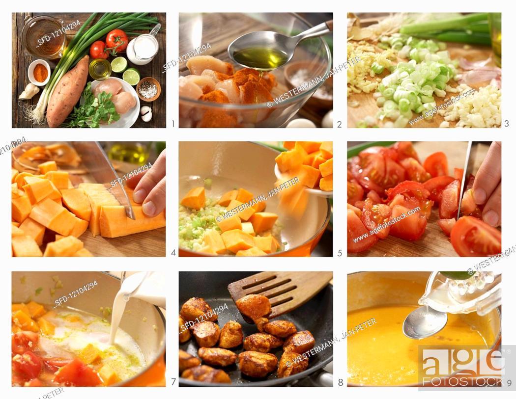 Photo de stock: Making sweet potato and coconut soup.
