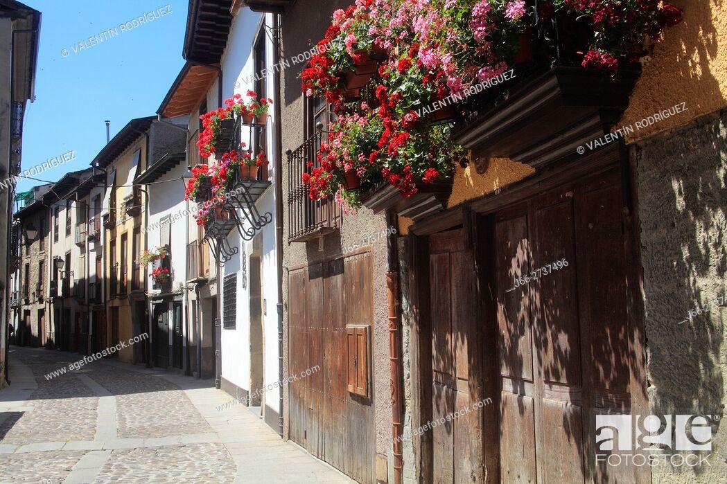 Stock Photo: Water street in Villafranca del Bierzo. León.