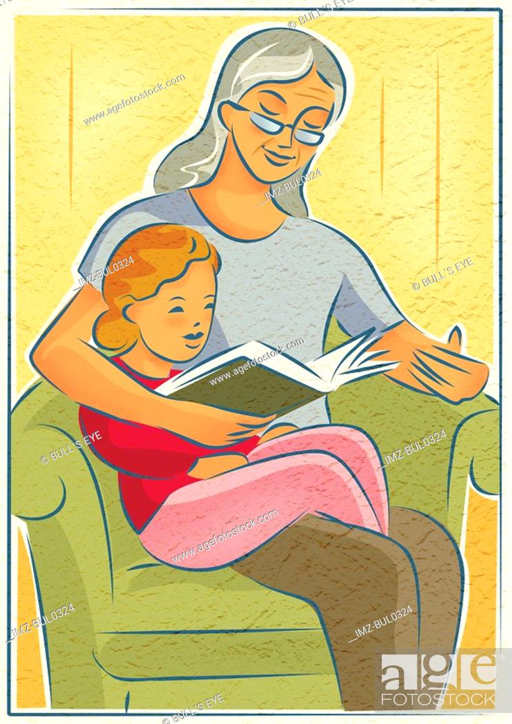 Stock Photo: An elderly woman reading a book with a young girl.
