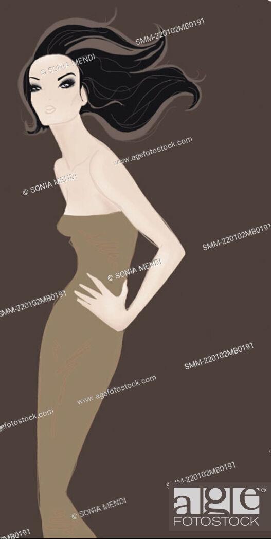 Stock Photo: Woman fashioning a brown dress.
