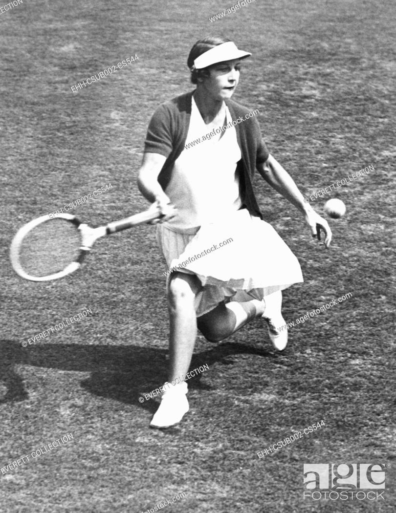 Stock Photo: Helen Wills Moody warming up before her first round match with Esther Bartosh at Forest Hills. Aug. 15, 1933. Wills Moody lost her finals match to Helen Hull.