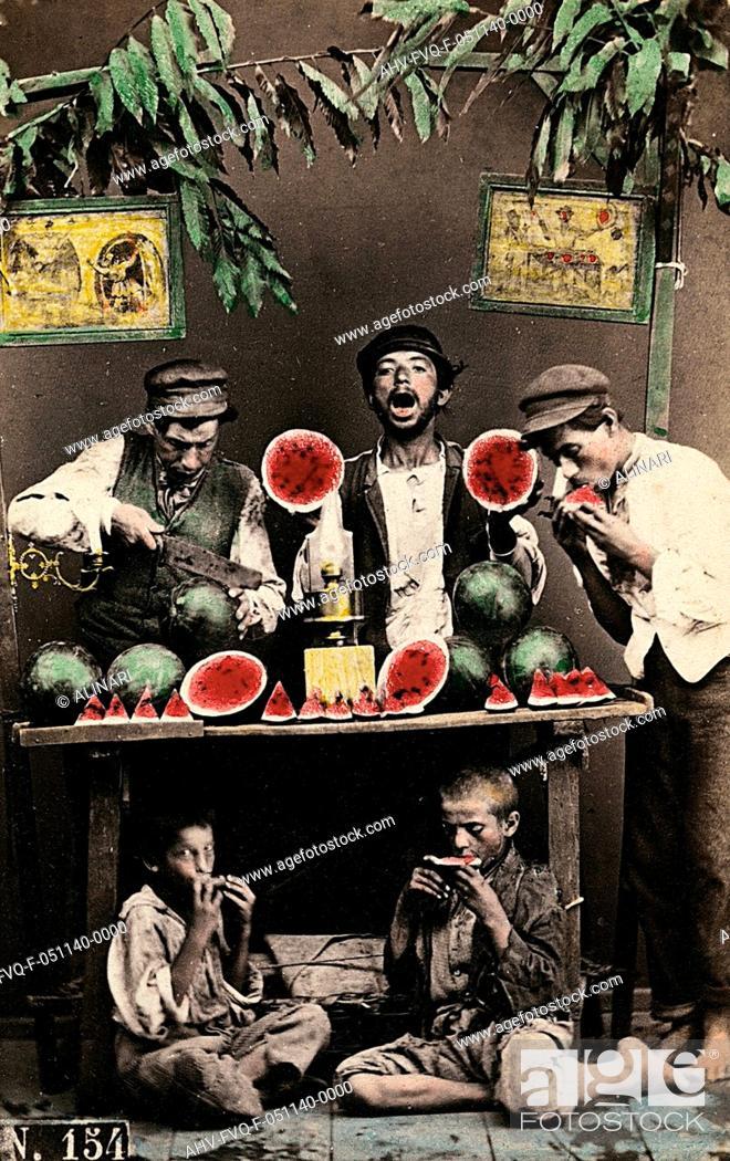Stock Photo: Naples. Watermelon sellers, shot 1865 ca. by Conrad, Giorgio.