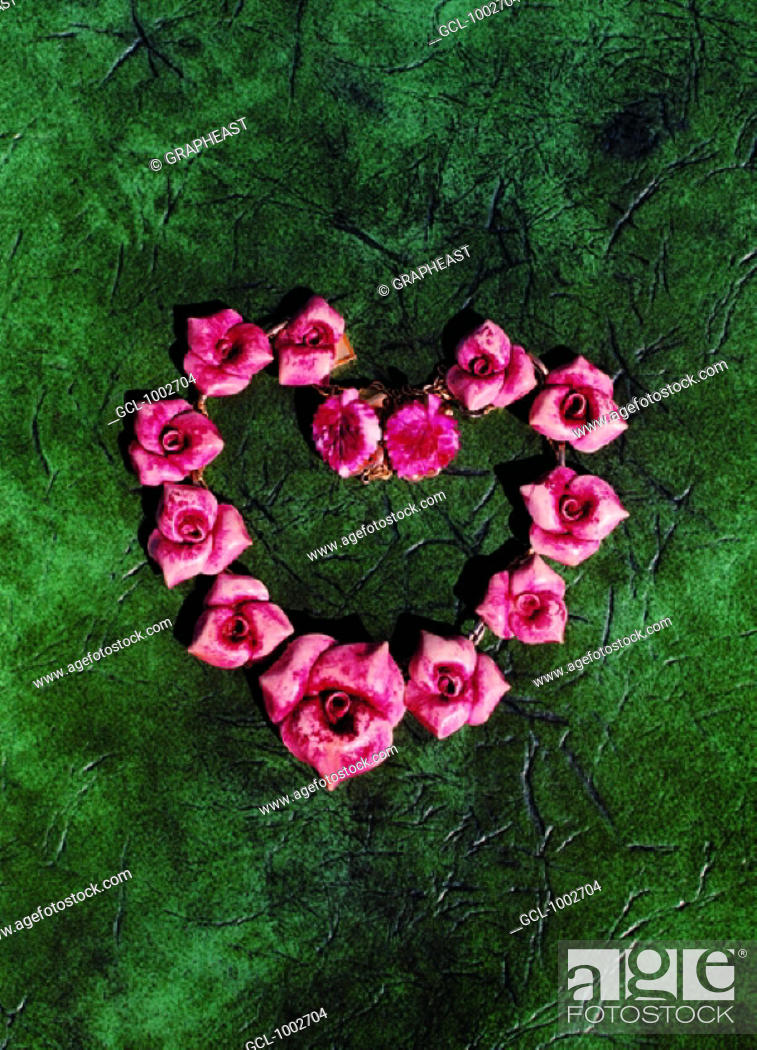 Stock Photo: Red flowers in the shape of a heart.