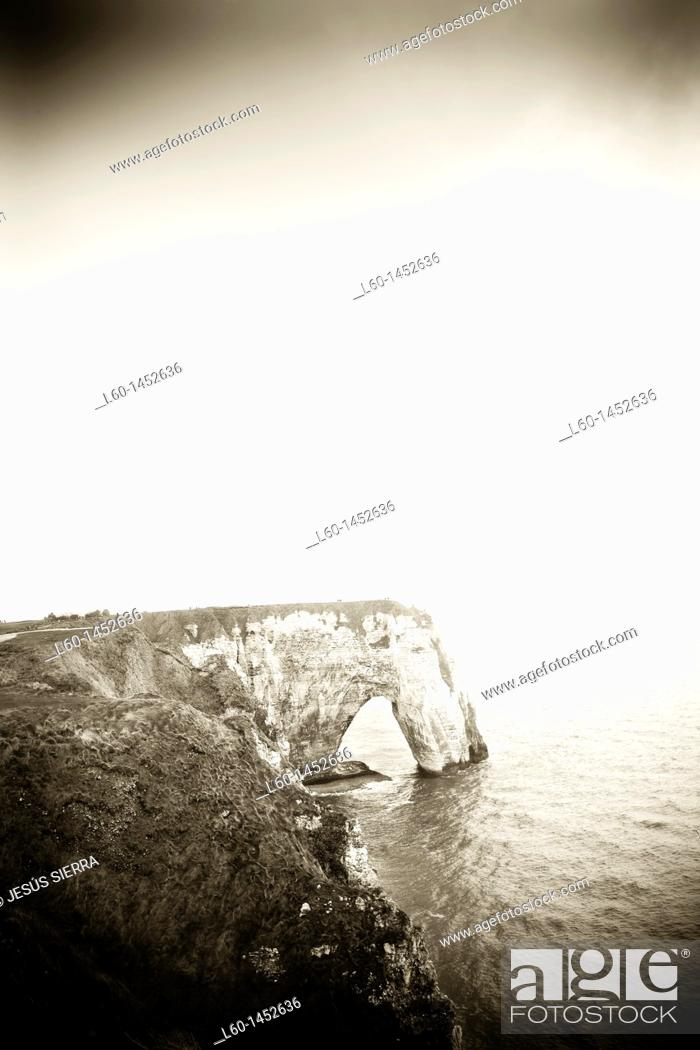 Stock Photo: Falaise near Étretat Côte d'Albatre Haute-Normandie Normandy France.