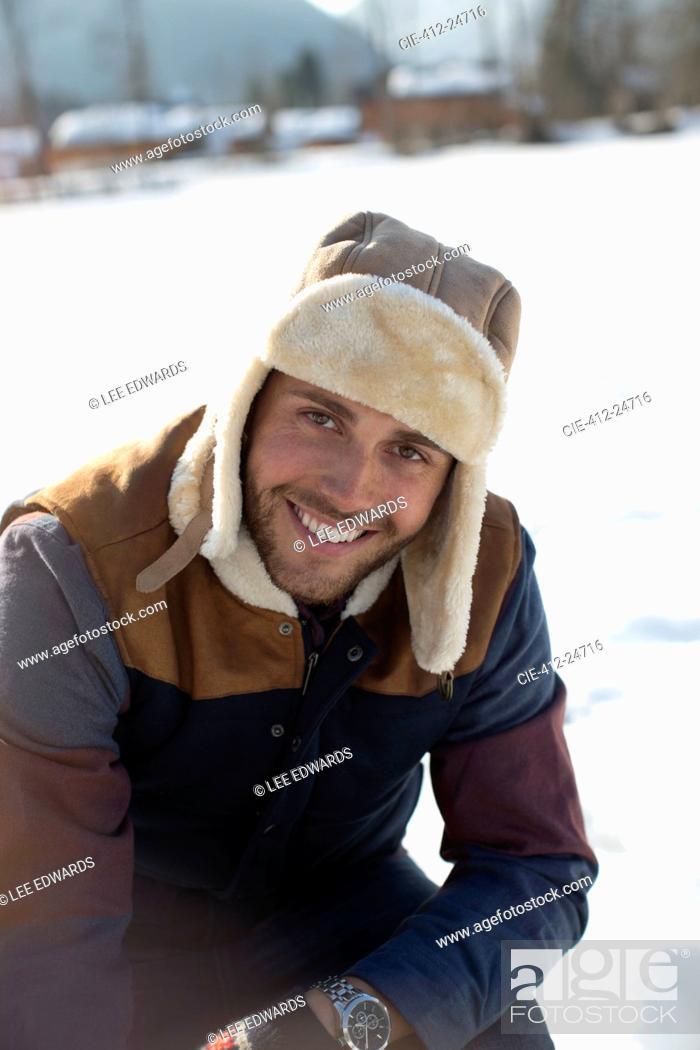 Photo de stock: Portrait of man in snow.