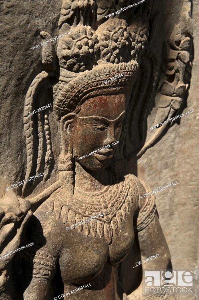 Stock Photo: Carving of apsara dancer with original color, Angkor Wat temple, Siem Riep, Cambodia.