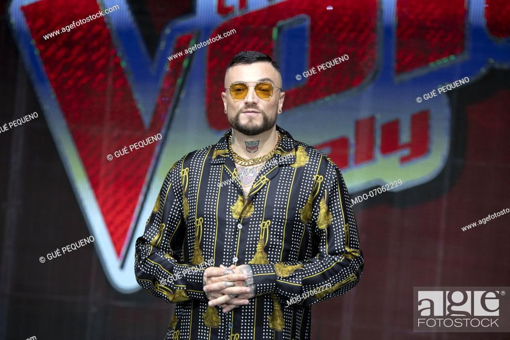 Italian Rapper Gue Pequeno At The Press Conference Of The Voice Of Italy Stock Photo Picture And Rights Managed Image Pic Mdo 07062229 Agefotostock