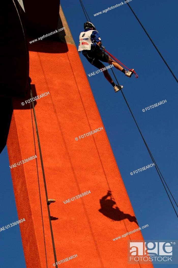 Stock Photo: repelling, recreation, rescue, construction, grip, feet.