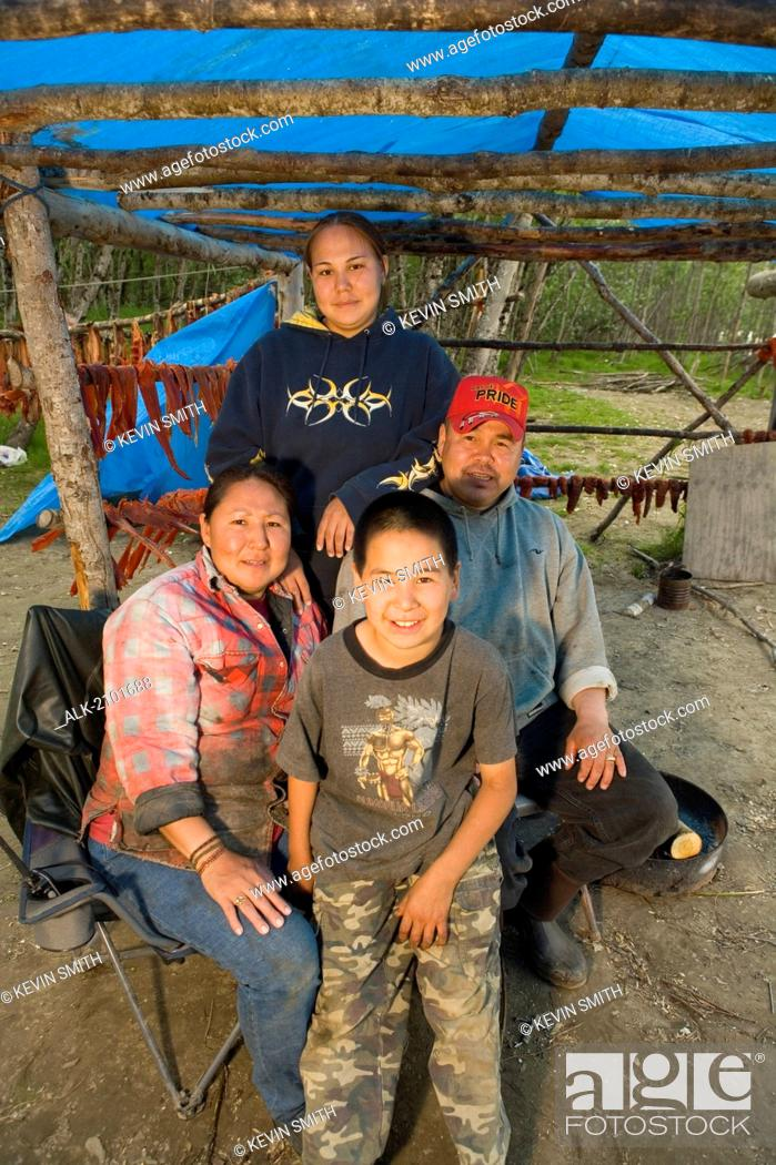 Portrait Of Native Yupik Family @ Fish Camp Tuluksak Western