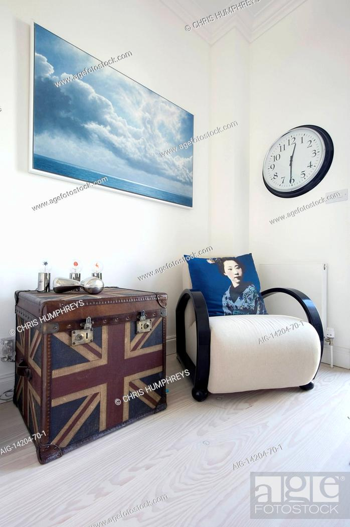 Wooden Vintage Armchair With Union Jack Travelling Chest In