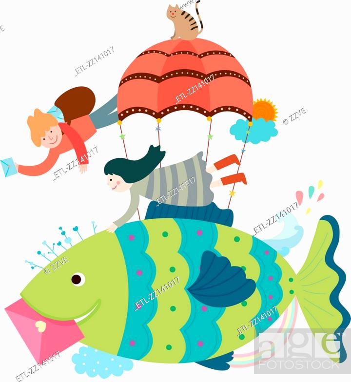 Stock Photo: Flying fish and children.