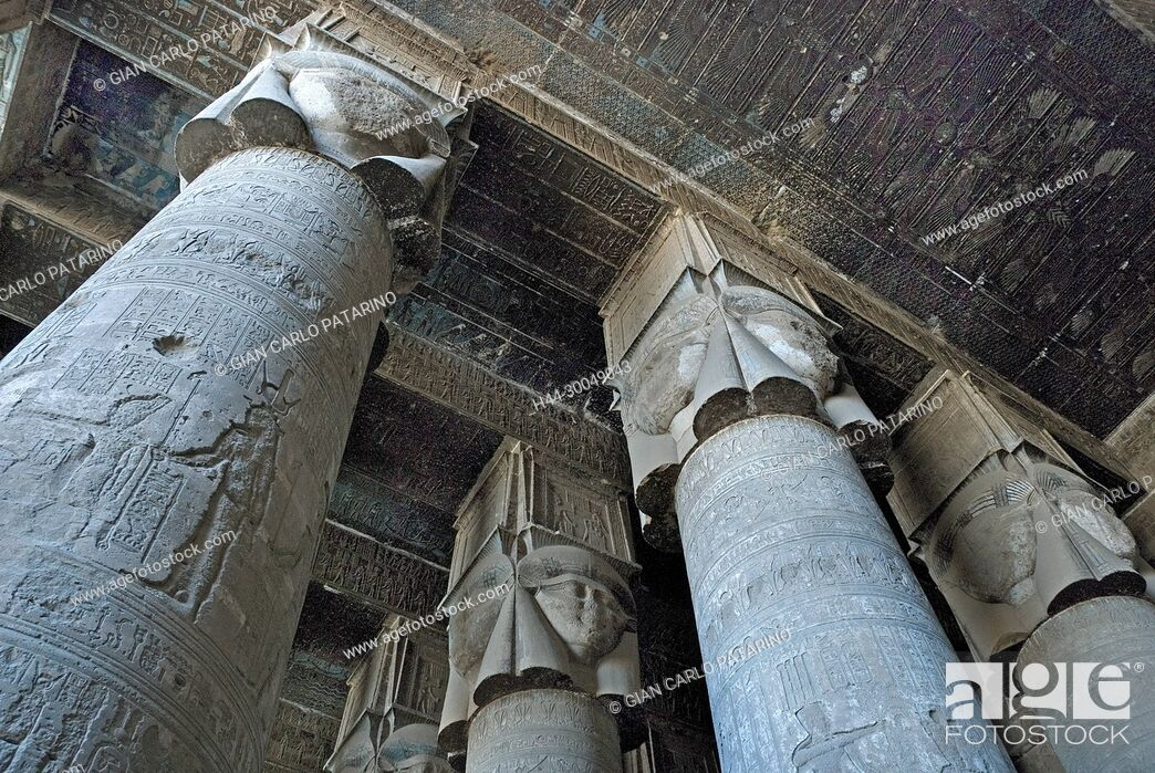 Stock Photo: Egypt, Dendera, Ptolemaic temple of the goddess Hathor.View of an Hathoric capitol.