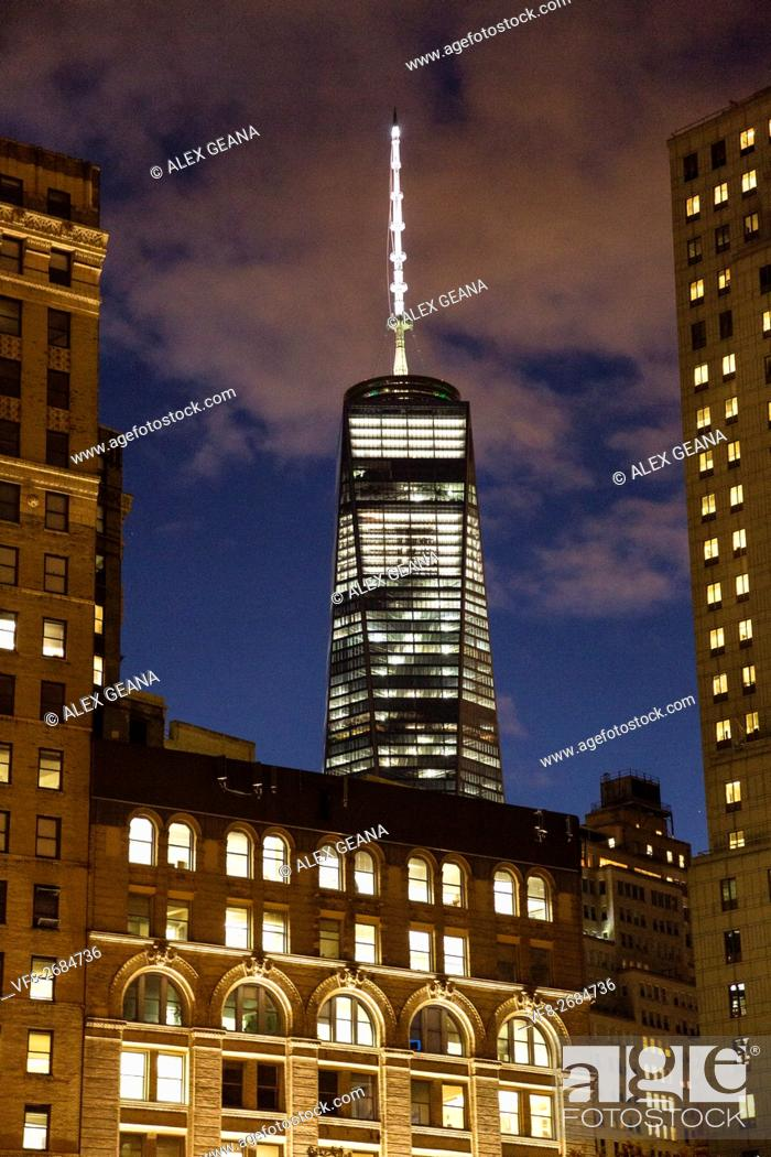 Stock Photo: One World Trade Center also known as the Freedom Tower, is the name of two buildings in New York City's Lower Manhattan. Itâ.