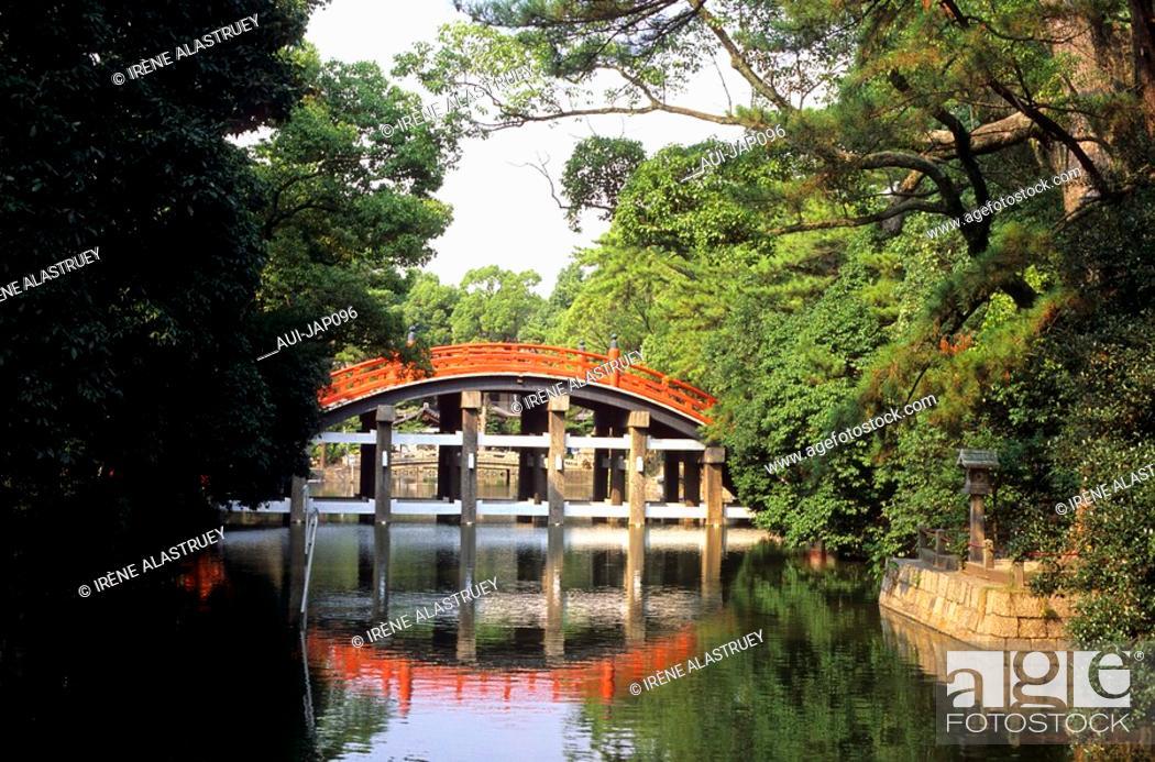 Stock Photo: Japan - The west of Honshu - Osaka - Sumiyoshitaisha Sanctuary bridge.