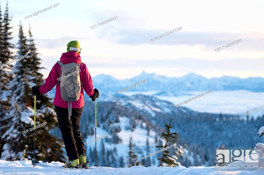 Stock Photo: Female skier against mountains.