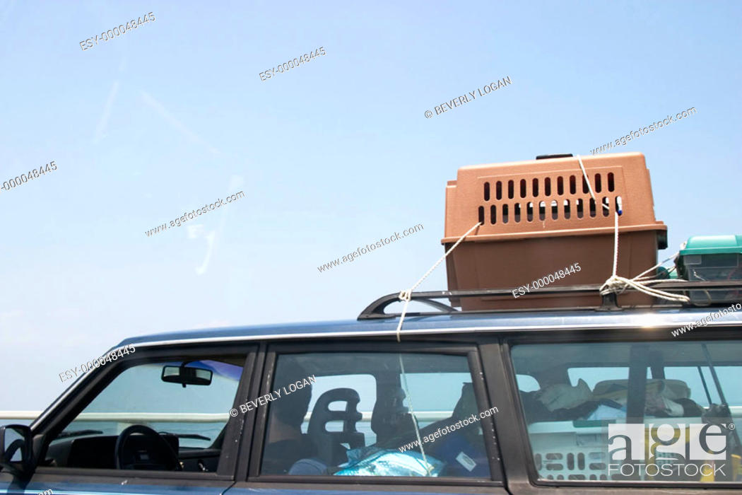 Stock Photo: Loaded stationwagon on the highway.
