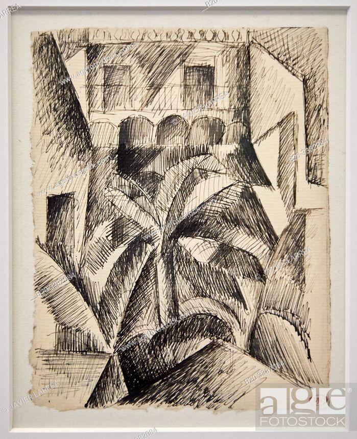 """Stock Photo: """"Maisons et palmiers"""", 1909, Pablo Picasso, Picasso Museum, Paris, France, Europe."""