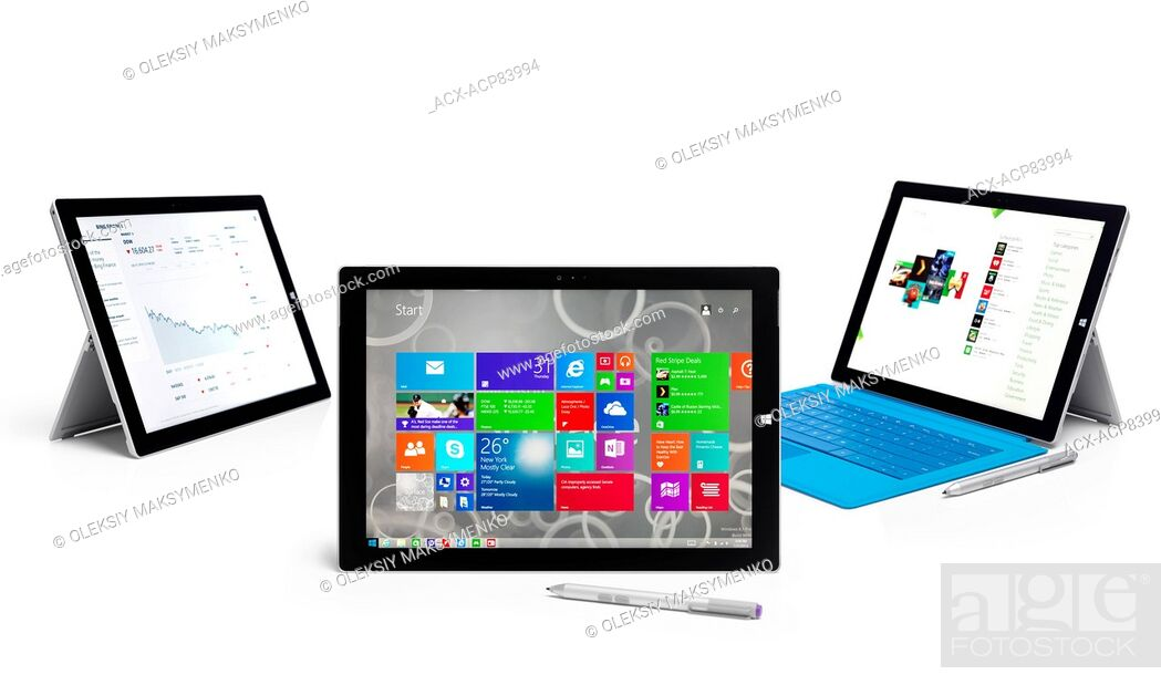 Stock Photo: Microsoft Surface Pro 3 tablet computers. Three tablets still life. Isolated on white background.