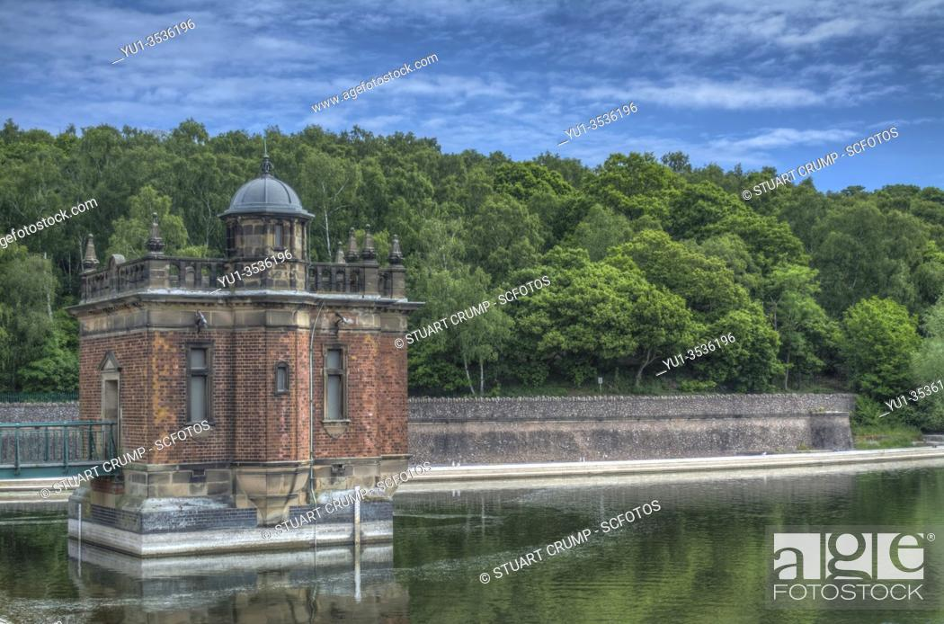 Stock Photo: HDR image of the draw off tower at Swithland Reservoir in Leicestershire.