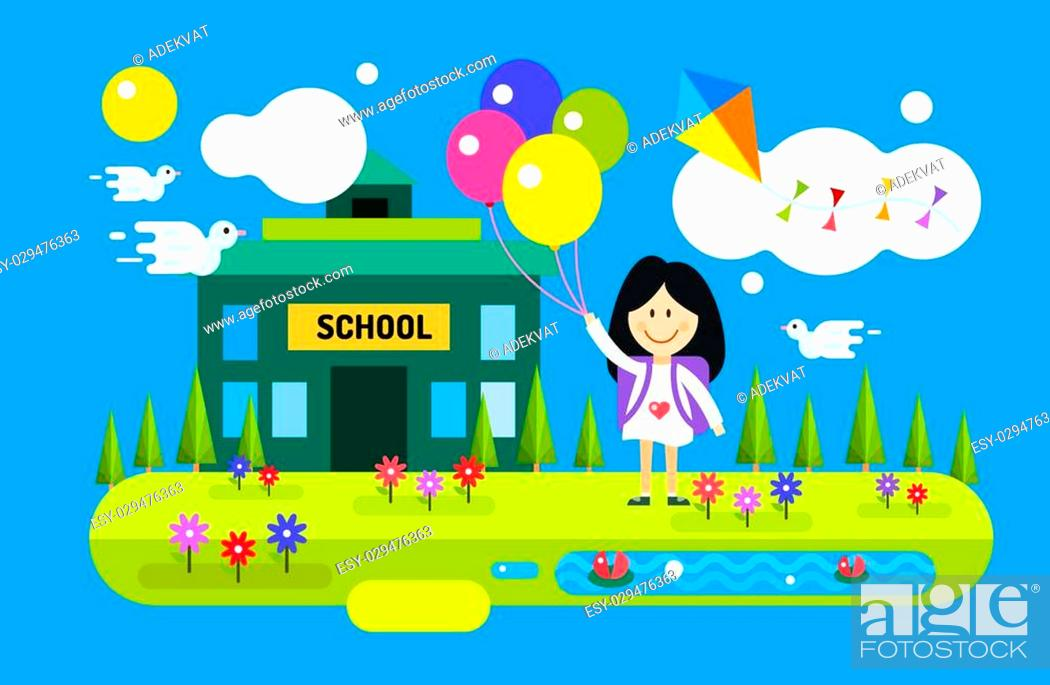 Back To School Background Cute Vector Cartoon Happy Girl Playing Near School Building Stock Vector Vector And Low Budget Royalty Free Image Pic Esy 029476363 Agefotostock