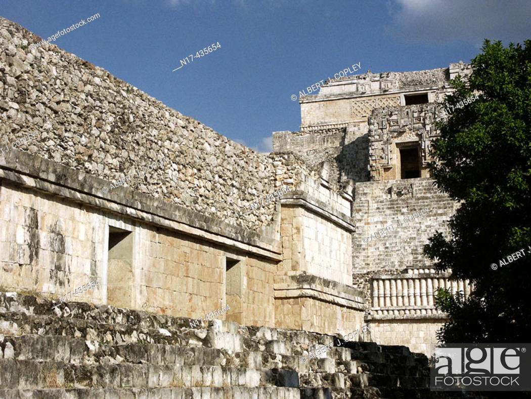 Stock Photo: Nunnery Quadrangle in Uxmal, Pre-Columbian ruined city of the Maya civilization (late Classic period 600 - 900 A.D.). Yucatan, Mexico.