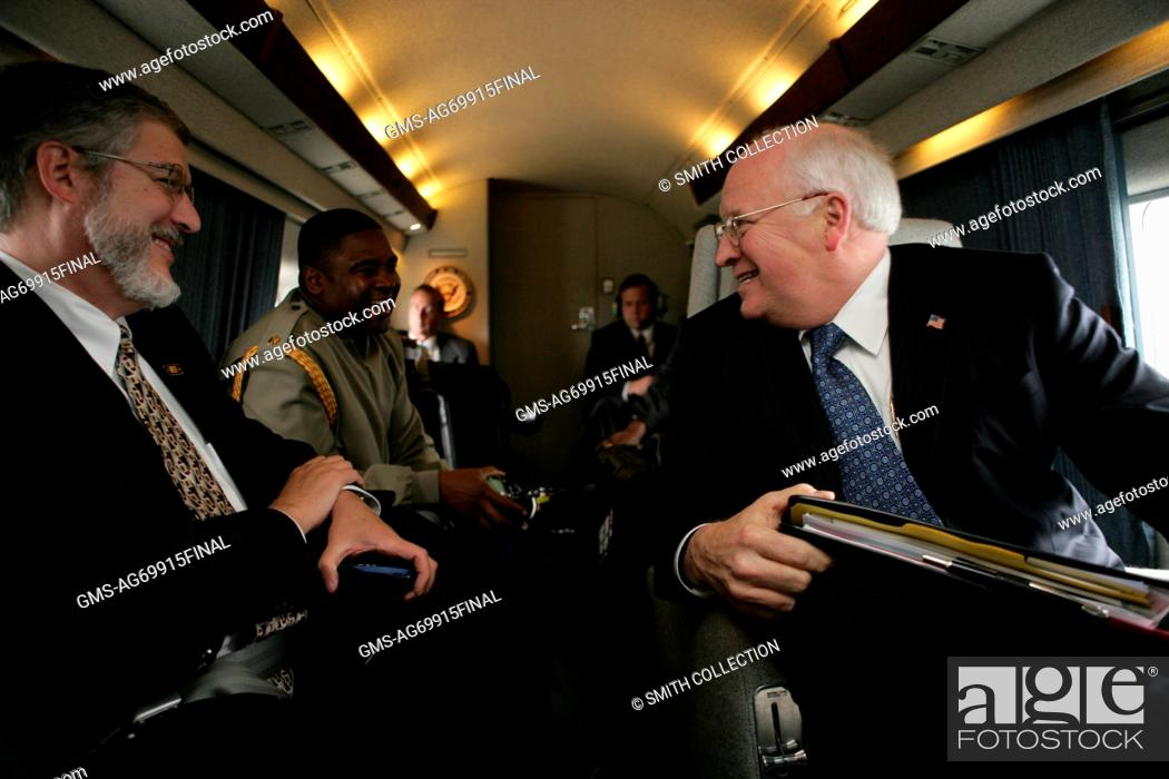 Stock Photo - Former American Vice President Dick Cheney Talks with Former  Chief of Staff to the Vice President David Addington and Military Aide  Aboard ...
